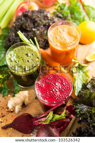 Freshly Juiced Greens and Vegetables for Nutritious Drink During Fast - stock photo