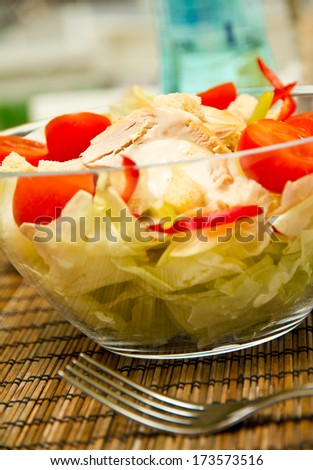 Freshly made chicken salad in a bowl