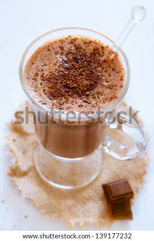 Freshly made hot chocolate in a glass - stock photo