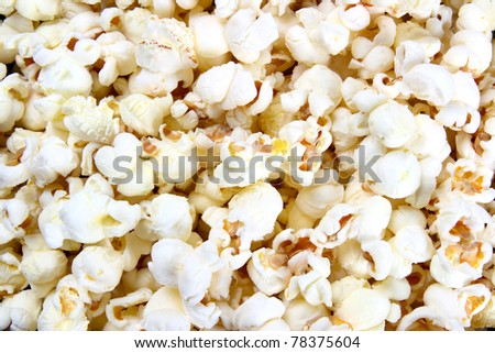 Freshly made popcorn background or texture close-up