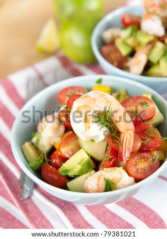 Freshly Made Shrimp Salad - stock photo