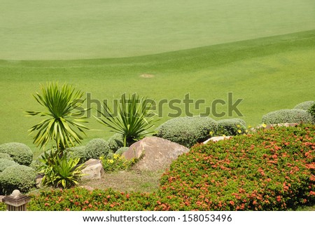 Freshly mown lawn and flowerbed - stock photo