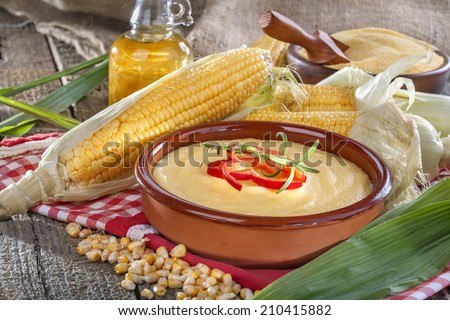 Freshly picked domestic corn with grits polenta and corn oil