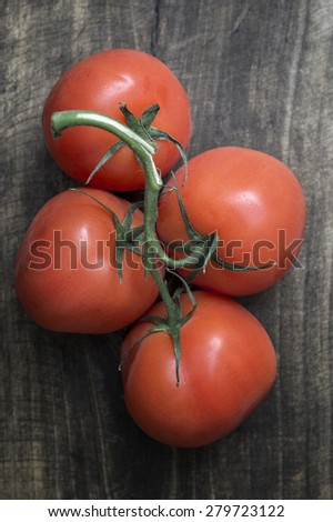 Freshly picked ripe red tomatoes off the vine lying on an old rustic wooden table - stock photo