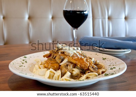 Freshly Prepared Chicken Marsala dinner - stock photo
