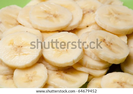 Freshly sliced banana - stock photo