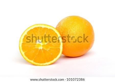 Freshly sliced orange isolated on white - stock photo