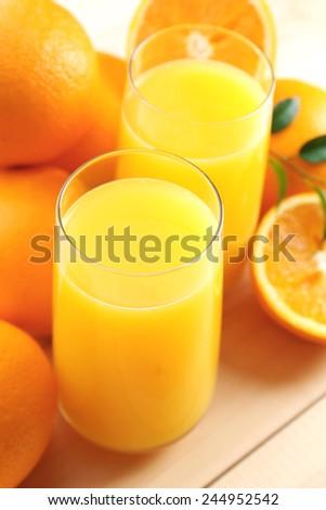 Freshly squeezed orange juice, close-up - stock photo