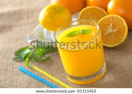 Freshly squeezed orange juice with orange slice and mint leaf on top of the juice (Selective Focus, Focus on the mint leaf on top of the juice) - stock photo