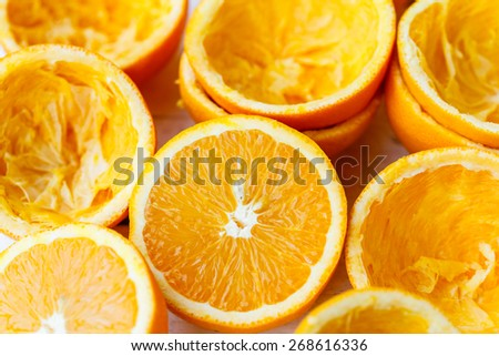 Freshly squeezed oranges - stock photo