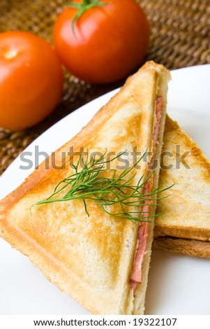 Freshly toasted cheese and ham sandwich with tomatoes