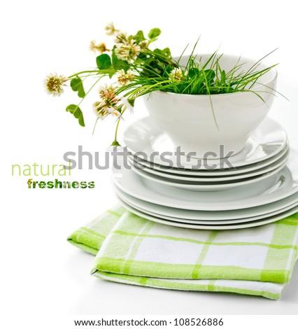 Freshly Washed Dishes - stock photo