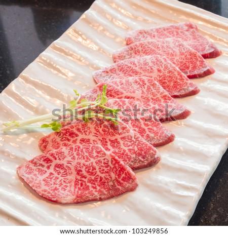 Freshness Japanese meat for BBQ - stock photo