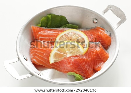 freshness salmon fillet and lemon  - stock photo