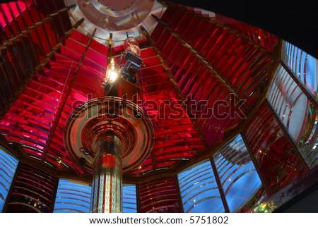 Fresnel Lens in Umpqua River Lighthouse, Oregon - stock photo