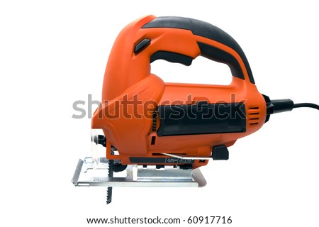 fret-saw with saw isolated on a white background - stock photo
