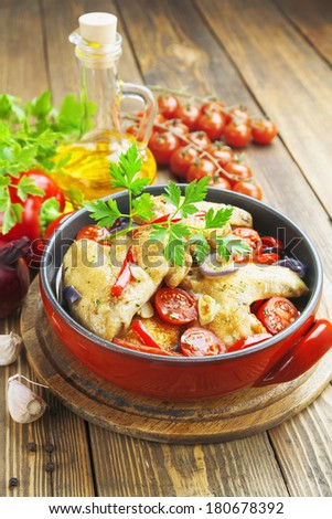 Fricassee of chicken with vegetables in the pot