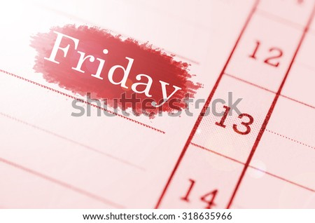Friday 13th on Grunge paper. - stock photo