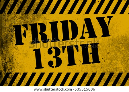 Friday 13th sign yellow with stripes, 3D rendering