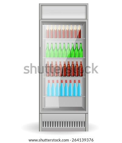 Fridge Drink with glass door and with water, beer bottles. Isolated on white background. Raster version - stock photo