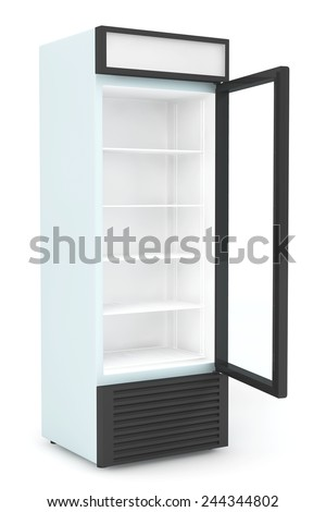 Fridge Drink with opened door on a white background - stock photo