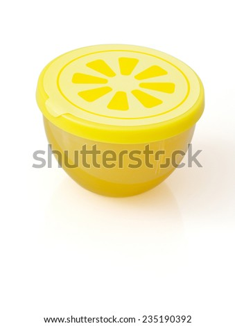 Fridge freshener with lemon smell on a white background.
