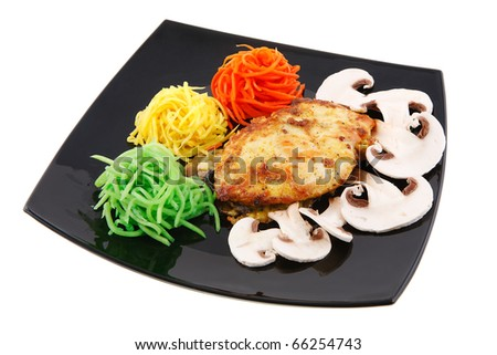 fried bacon with vegetables - stock photo