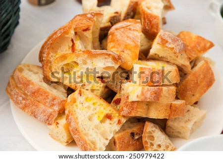 Fried bread with butter - stock photo