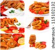 Fried calamari rings in collage - stock photo