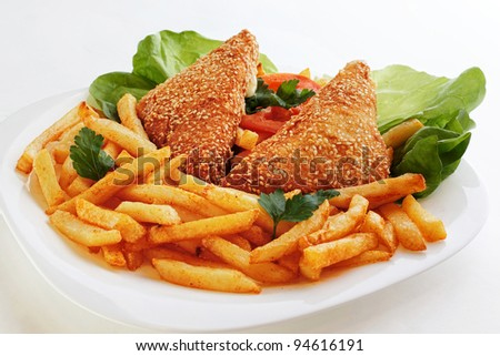 Fried cheese and french fries - stock photo