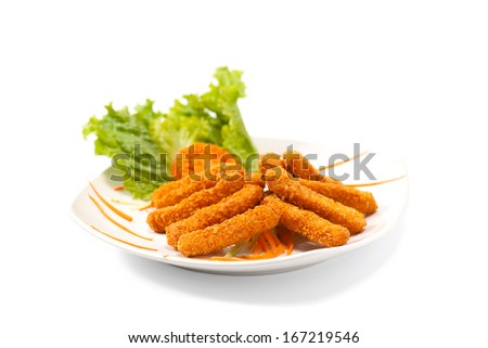 Fried cheese sticks isolated on white background - stock photo
