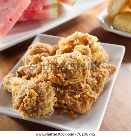 fried chicken and watermelon - stock photo