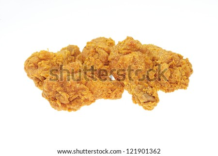 Fried chicken in isolated white - stock photo