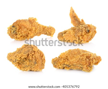 Fried chicken isolated on the white background. - stock photo