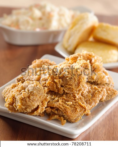 fried chicken meal with biscuits and coleslaw - stock photo
