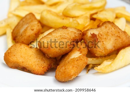 Fried chicken nuggets, close up , selective focus - stock photo