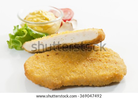 Fried chicken nuggets isolated on white background - stock photo