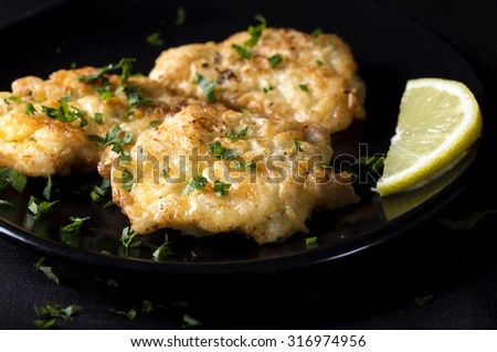 Fried chicken schnitzel with lemon on dark plate - stock photo