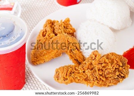 Fried Chicken, soft drink and Rice , Fast food - stock photo