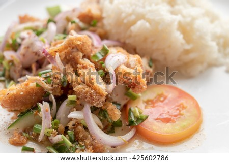 Fried chicken spicy salad with seasoning rice on white plate