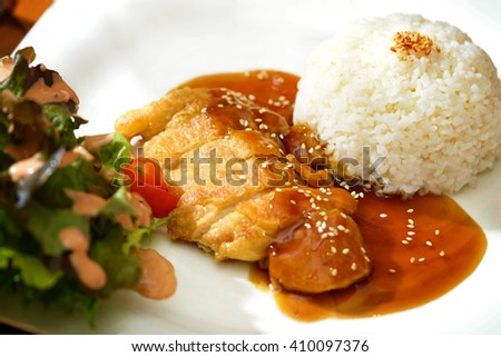 Fried Chicken Teriyaki with steamed rice and salad - stock photo