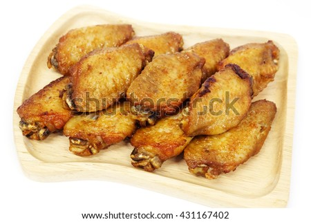 Fried Chicken wing, closeup, isolated