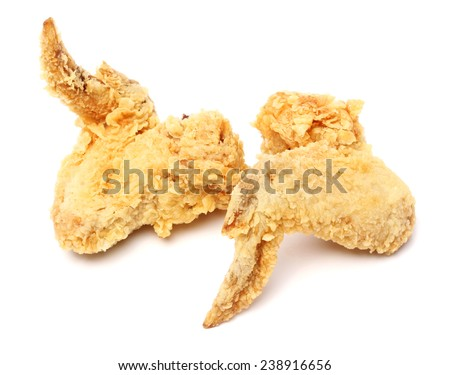 Fried Chicken Wings on white background