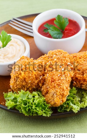 Fried chicken wings with dips - stock photo