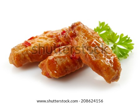 fried chicken wings with sweet chili sauce on white background