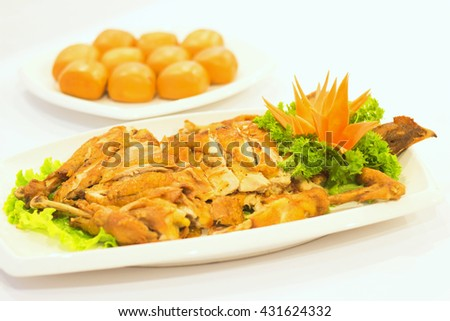 Fried chicken with dumplings
