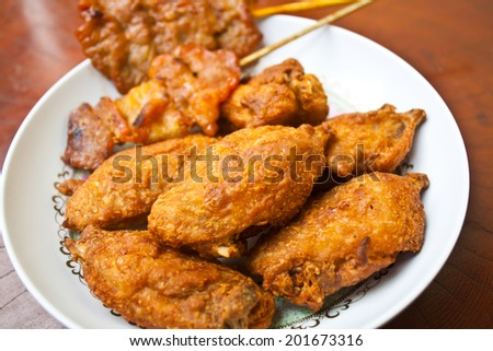 Fried Chicken with Grilled Pork