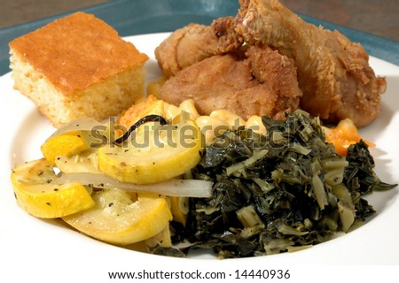 Fried chicken with veggies and cornbread 3 - stock photo