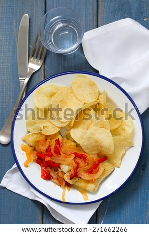 fried cod fish with vegetables - stock photo