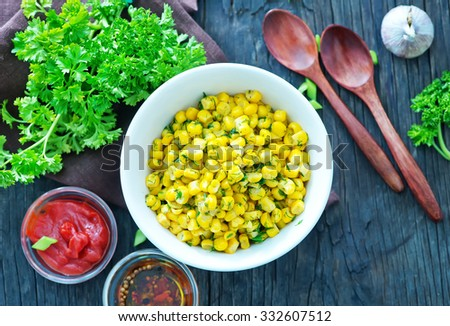 fried corn with butter and spice in the bowl - stock photo